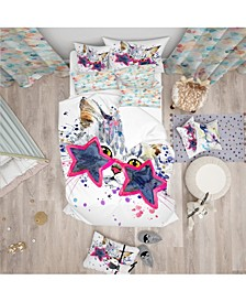 Designart 'Cute Kitten With Blue Stars' Modern and Contemporary Duvet Cover Set