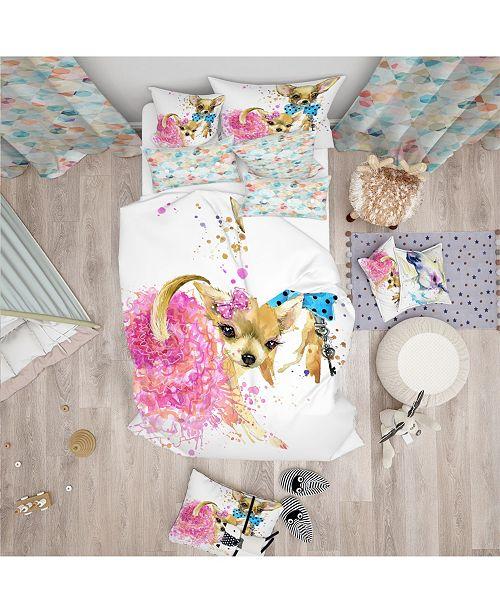 Design Art Designart 'Bridge And Groom Dog Illustration' Modern and Contemporary Duvet Cover Set - Queen