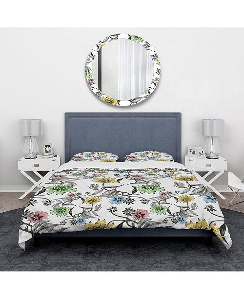 Design Art Designart 'Hand Drawn Summer Flowers' Modern and Contemporary Duvet Cover Set - Queen