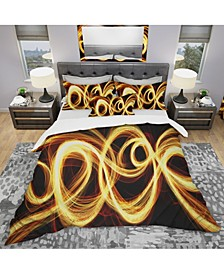 Designart 'Gold Shock Abstract' Modern and Contemporary Duvet Cover Set - King