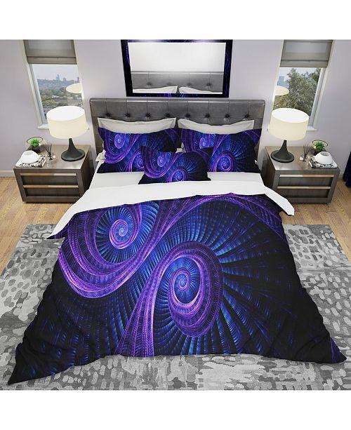 Design Art Designart 'Royal Purple and Blue Dream' Modern and Contemporary Duvet Cover Set - Queen