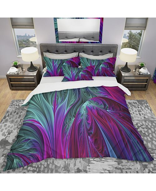Design Art Designart 'Purple And Green Jungle' Modern and Contemporary Duvet Cover Set - Twin