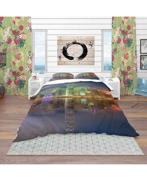 Design Art Designart 'Hong Kong Panoramic View' Modern and Contemporary Duvet Cover Set - Queen