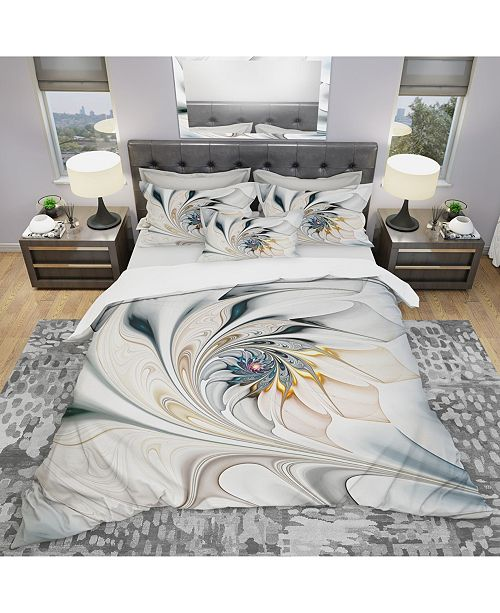Design Art Designart 'White Stained Glass Floral Art' Modern and Contemporary Duvet Cover Set - King