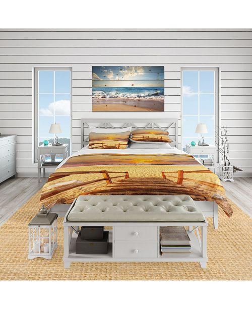 Design Art Designart 'Brown Wooden Boardwalk Into Beach' Coastal Duvet Cover Set - King