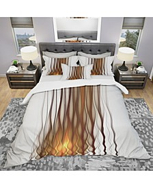 Designart 'Yellow Fractal Flames Pattern' Modern and Contemporary Duvet Cover Set - Twin