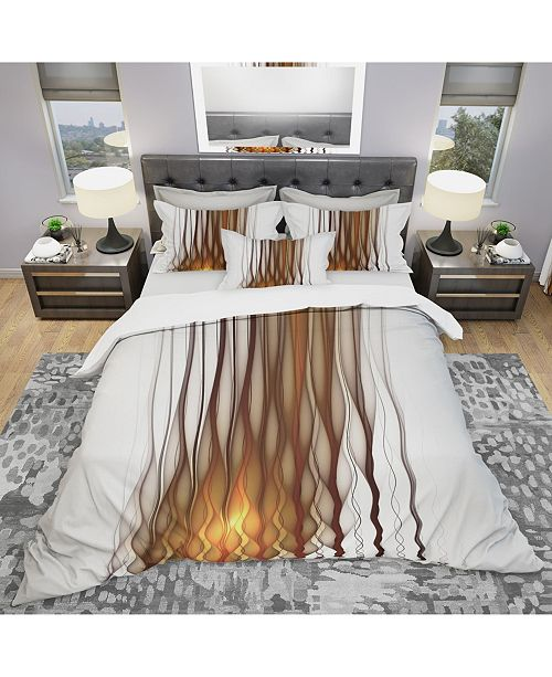 Design Art Designart 'Yellow Fractal Flames Pattern' Modern and Contemporary Duvet Cover Set - Twin