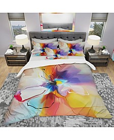 Designart 'Creative Flower In Multiple Colors' Modern and Contemporary Duvet Cover Set - Queen
