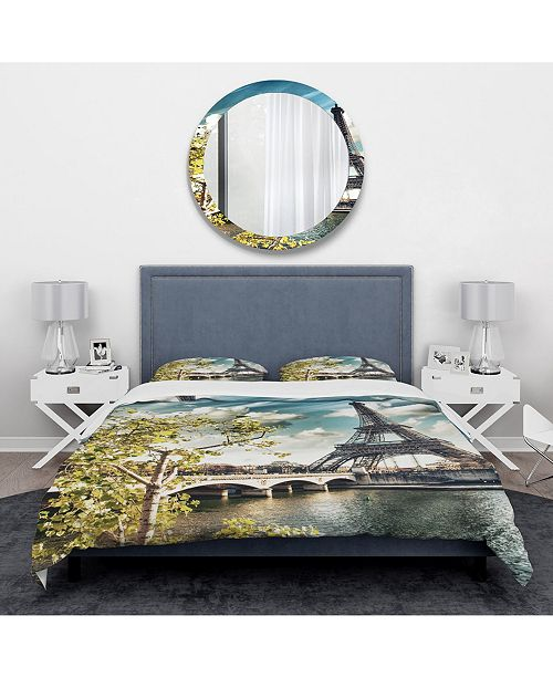 Design Art Designart 'Vegetation Near Paris Eiffel Tower' Global Inspired Duvet Cover Set - Twin
