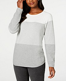 Plus Size Plus Size Colorblocked Curved Hem Sweater, Created For Macy's