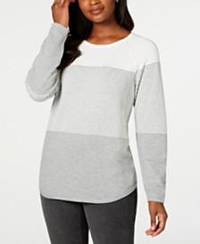 Karen Scott Textured Cotton Colorblock Pullover Sweater, Created for Macy's