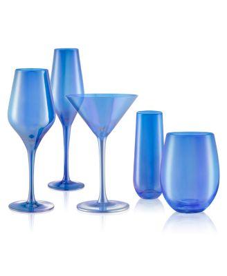 Set of 4 16oz. Luster Blue Stemless Glasses