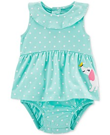 Carter's Baby Girls Dot & Dot Cotton Skirted Romper