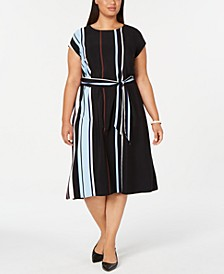 Plus Size Tie-Waist Striped Midi Dress, Created for Macy's