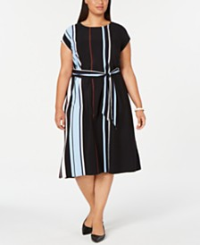 Alfani Plus Size Tie-Waist Striped Midi Dress, Created for Macy's