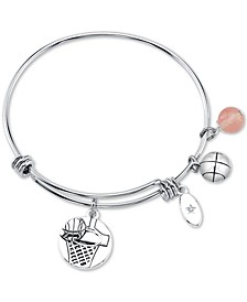 Basketball Charm and Cherry Quartz (8mm) Adjustable Bangle Bracelet in Stainless Steel