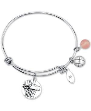 Unwritten Basketball Charm and Cherry Quartz (8mm) Adjustable Bangle Bracelet in Stainless Steel