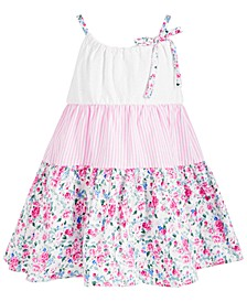 Toddler Girls Mixed-Media Tiered A-Line Dress