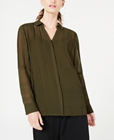 Alfani Pintucked Button-Down Top, Created for Macy's