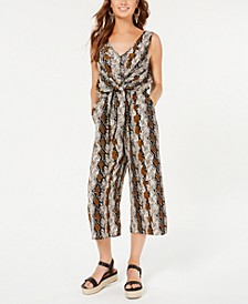 Juniors' Printed Tie-Front Jumpsuit