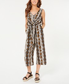 One Clothing Juniors' Printed Tie-Front Jumpsuit