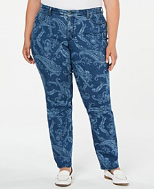 Plus Size Printed Straight-Leg Jeans, Created for Macy's