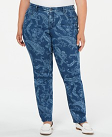Charter Club Plus Size Printed Straight-Leg Jeans, Created for Macy's