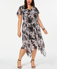 Robbie Bee Plus Size Handkerchief-Hem Midi Dress