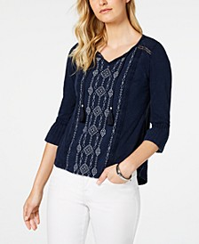 Petite Embroidered Bell-Sleeve Cotton Top, Created for Macy's