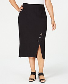 Plus Size Textured Button-Trim Skirt, Created for Macy's