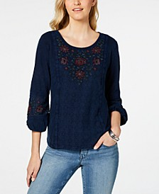 Embroidered-Panel Peasant Top, Created for Macy's