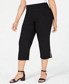 JM Collection Plus Size Embellished-Hem Capri Pants, Created for Macy's