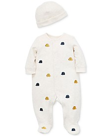 Little Me Baby Boys Cotton Elephant Footed Coverall & Hat