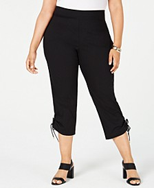 Plus Size Ruched-Hem Cropped Pants, Created for Macy's