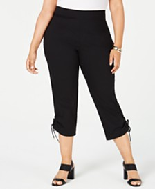 JM Collection Plus Size Ruched-Hem Cropped Pants, Created for Macy's