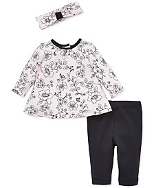 Little Me Baby Girls 3-Pc. Floral-Print Headband, Tunic & Leggings Cotton Set