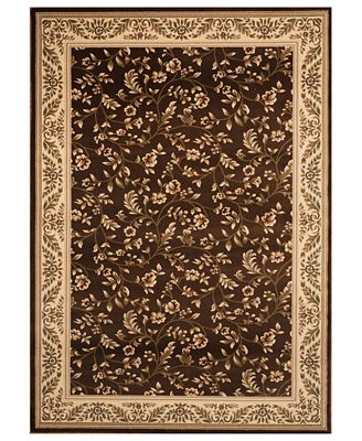 closeout! km home area rug, princeton floral brown 4' x 5'3
