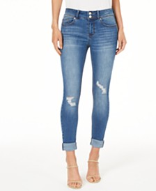 Indigo Rein Juniors' Ripped Cuffed Jeans