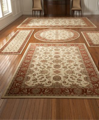 KM Home Area Rug Set, Vienna Collection 5 Piece Set Meshed Ivory/Brick