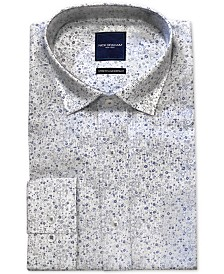 Nick Graham Men's Modern-Fit Performance Stretch Wrinkle-Resistant Floral Stripe Print Dress Shirt