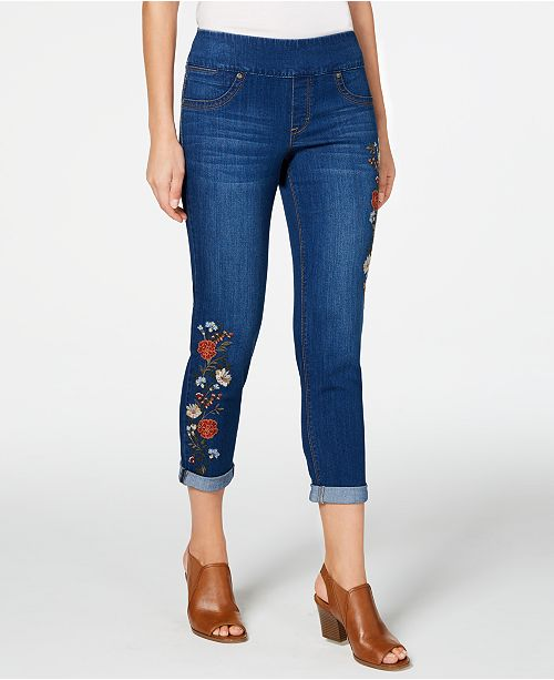 Style & Co Petite Embroidered Cropped Jeggings, Created for Macy's
