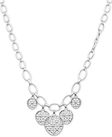 "Silver-Tone Basketweave Openwork Disc Collar Necklace, 17"" + 2"" extender"