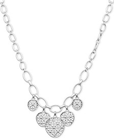 "Lucky Brand Silver-Tone Basketweave Openwork Disc Collar Necklace, 17"" + 2"" extender"