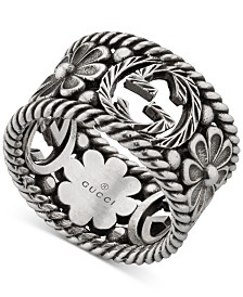 Gucci Interlocking G Logo & Flower Openwork Statement Ring in Sterling Silver