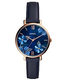 Fossil Women's Jacqueline Playful Floral Blue Leather Strap Watch 36mm