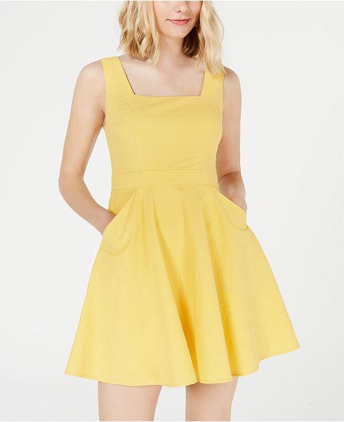 City Studios Juniors' Square-Neck Woven Dress