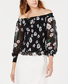 Bar III Floral-Print Smocked Blouse, Created for Macy's