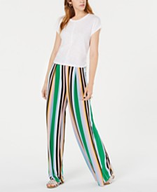 Bar III Ruched T-Shirt & Wide-Leg Striped Pants, Created for Macy's