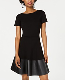 Rosie Harlow Juniors' Faux-Leather-Trim Skater Dress, Created for Macy's