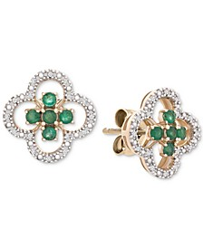 Emerald (3/8 ct. t.w.) & Diamond (1/10 ct. t.w.) Clover Stud Earrings in 14k Gold